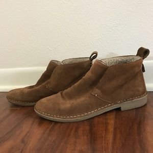 Brown suede moccasin booties lined with fleece